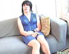 Cute amateur trans jerksoff on casting couch