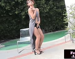 Busty shemale whips and anal bangs dude