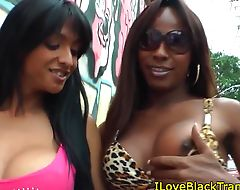 Bigtitted ebony tgirl tugging after blowjob