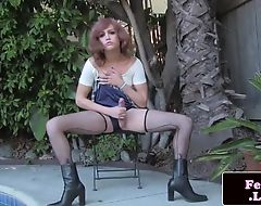 Outdoor amateur trans tugging her cock solo