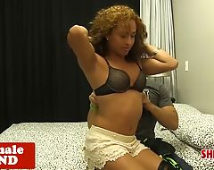 Heeled latina tgirl doggystyled on bed