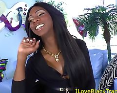 Ebony tgirl wanks her chocolate dick solo