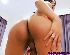 Tranny hot Tongta stroking her cock