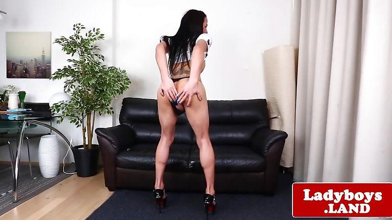 Big boobs tranny strokes her huge hard cock on the couch