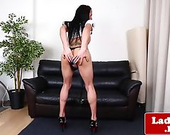 Inked ladyboy solo spreading round booty