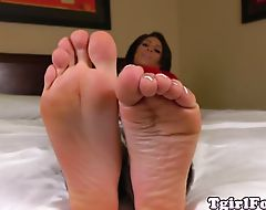 Pedicured toes teasing tgirl showing barefeet