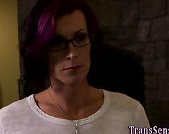 Trans hottie sucks cock