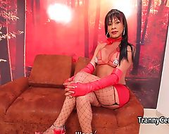 Hot lingerie tgirl fucks good