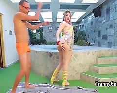 Big booty tranny fucks massive cock