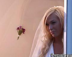 Transgender bride jizzing