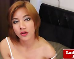 Stunning busty ladyboy seductively jerking