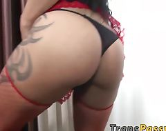 Some solo time with attractive and busty tranny Ms Poons