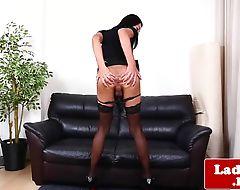 Lovely asian ts rubs her hard cock