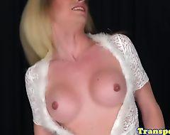 Lingerie trans jerking her cock until cum
