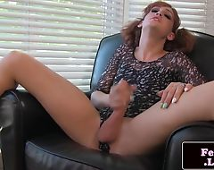 Beautiful femboi pleasures her big cock