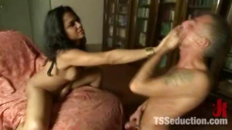 Shemale fucks male slave
