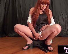 Kinky fembois poledance and strips down