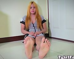 Feet fetish ladyboy curling her red toes