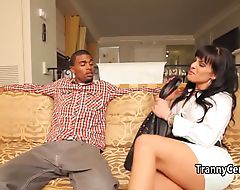 Tattooed tgirl loves big black cock