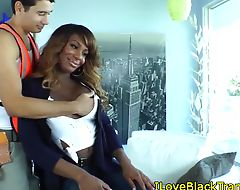 Black trans babe kissing before doggystyle