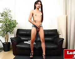 Smalltits ladyboy wanking her stiff dick