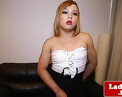 Chubby classy ladyboy solo stroking her cock