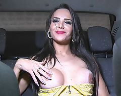 Busty long hair shemale gets anal pounded in doggystyle