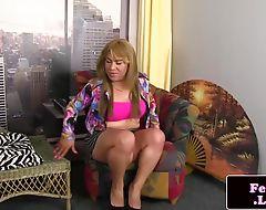 Plump latina tranny posing and jerking off