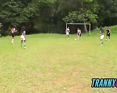 Top soccer TRANNIES with HUGE cocks slam the REFEREE's straight ass