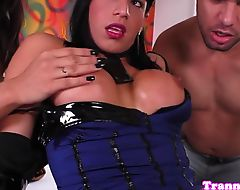 Shemale babes love threeway action
