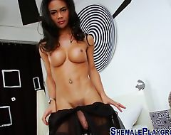 Ladyboy milks her cock