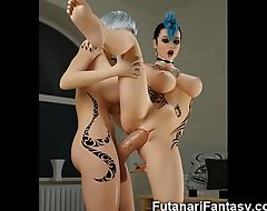 3D Futanari Babes with Monster Dicks