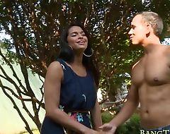 Big boobs shemale Bruna Souza analyzed with hard shaft