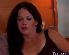 Trans woman sucks cock