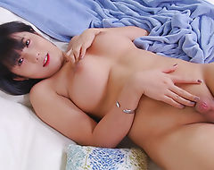 Cute ladyboy shows off her ass and masturbates her cock