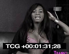 Ebony tranny facializes