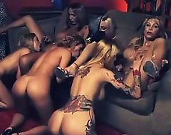 Gorgeous Shemale Gangbang