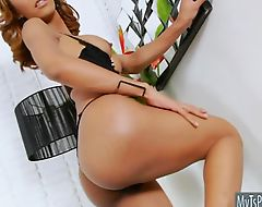 Nice titted TS shows off her ass masturbates it with a dildo
