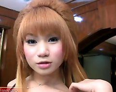 Pretty face ladyboy exposes her juicy dick and masturbates