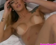 Busty inked latina tgirl wanking her cock