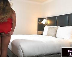 Chubby femboy jerking her cock in solo action
