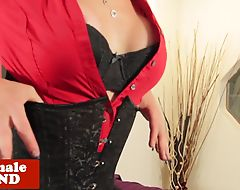 Busty shemale jerking her cock in solo action