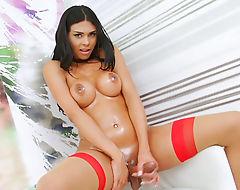 Big tits shemale stunner Ingrid masturbates her huge cock