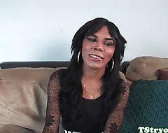 Latina shemale wanks off and sucks POV cock