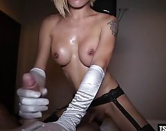 Hot ladyboy handjob with cumshot