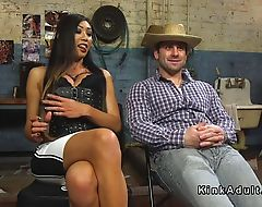 Tranny spanks and anal fucks cowboy