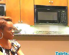 Ebony tgirl spitroasted in sensual threesome