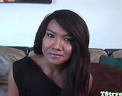 POV cocksucking ladyboy cumcovered at casting