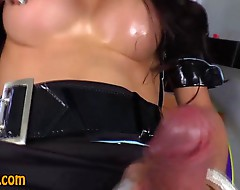 Tranny in uniform jerks her cock