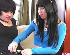 Lesbian ladyboy screwed from behind
